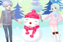 Play Kids And Snowman Dress Up game